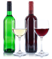Wein Flaschen Glas Weinflaschen Weinglas Rotwein Weißwein Weisswein freigestellt Freisteller