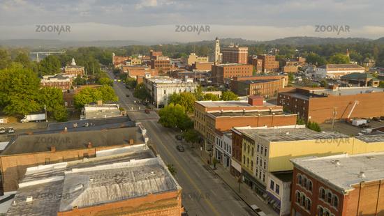 Foggy Morning Over Downtown Main Street Marietta Ohio Washington County