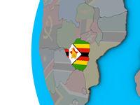 Zimbabwe with flag on 3D globe