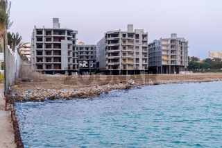 Hotel under construction on a red sea