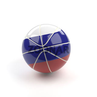 Basketball with the flag of Russia