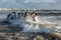 Parishioners of the Umbandist church worship Orisha Yemanja (Iemanja) on the Playa Mansa beach in Punta del Este