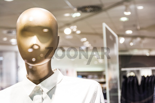 Fashion Mannequin Plastic Form Model Clothes Button Up Shirt Store Bright Lights Display Window Mall Shopping Commercial