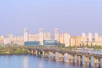 Dnipro river Paton bridge  Ukraine