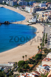 Beach And Blanes Town On Costa Brava In Spain