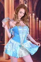 Tall, slim, sexy, busty redhead model dressed as Cinderella