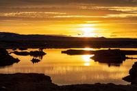 Myvatn lake at sunrise, Iceland