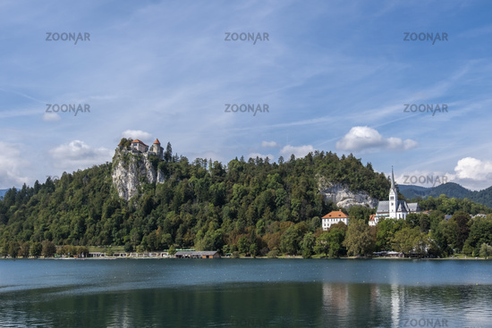 Lake Bled with castle and church of Bled