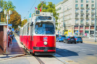 Old fashioned tram in Vienna, Austria