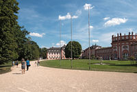 the baroque palace on the banks of the rhine river wiesbaden biebrich germany