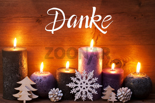 Purple Candle, Christmas Ornament, Danke Means Thank You