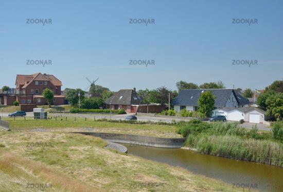 Village of Suederhafen on Nordstrand Peninsula,North sea,North Frisia,Germany