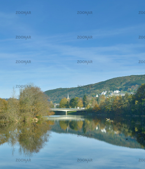 Village of Einruhr at Rurtalsperre Reservoir in Eifel National Park,North Rhine westphalia,Germany