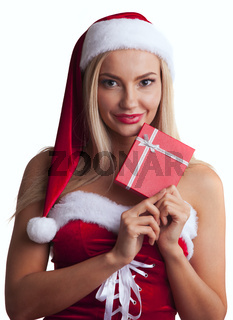 Woman in santa dress with gift