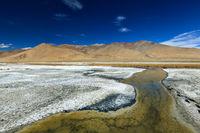 Tso Kar lake in Himalayas, Ladakh, India.