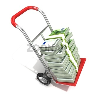 Hand truck with stacks of hundreds euros isolated on white background. 3D