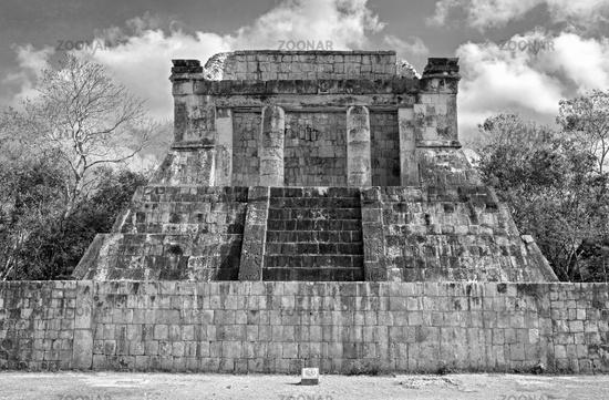 the temple of the bearded man in chichen itza in black and white the temple of the bearded man in chichen itza mexico