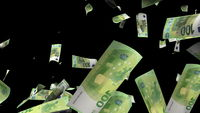 Many euros fall from above, 3d rendering. Computer generated backdrop with effect of money rain. Business success