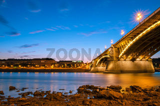Margaret bridge at dusk in Budapest