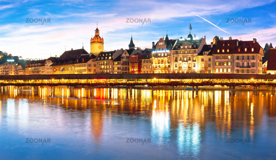 Luzern Kapelbrucke and riverfront architecture famous Swiss landmarks panoramic view
