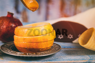 Honey, apple and pomegranate traditional holiday symbols rosh hashanah jewesh holiday