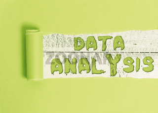 Word writing text Data Analysis. Business concept for Translate numbers to Analytical Conclusion Forecasting.