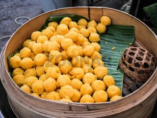 Kanom Tarn, Thai traditional dessert, Toddy palm cake sweet taste delicious
