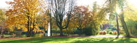 Sunny panoramic view of an urban park in the city of Essen in fall