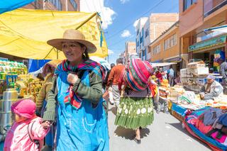 Bolivia La Paz people at the El Alto market