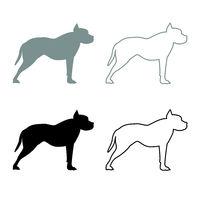 Pit bull terrier icon outline set grey black color