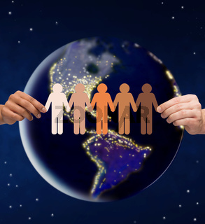 hands holding chain of people pictogram