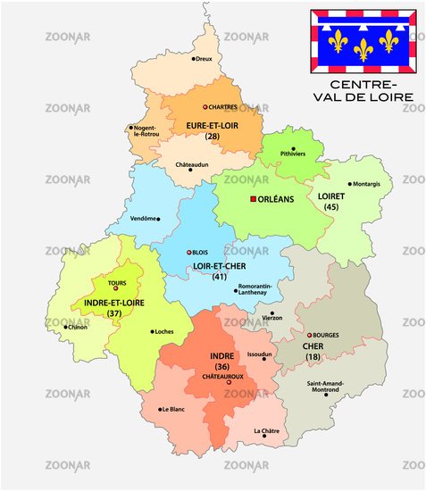 administrative and political map of the region Centre Val de Loire france