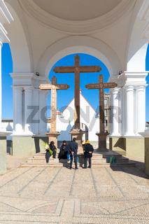Bolivia Copacabana temple of the three crosses basilica of the virgin of Candelaria