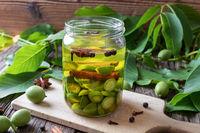 Preparation of nut liqueur from unripe walnuts
