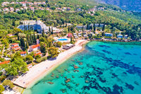 Adriatic village of Mlini waterfront and beach aerial view,