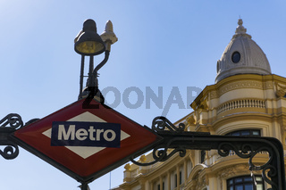 Madrid, Spain Metro Sign.