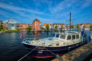Spaarne river in Harlem, Netherlands