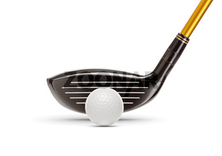 Fairway Wood Golf Club and Golf Ball on White Background