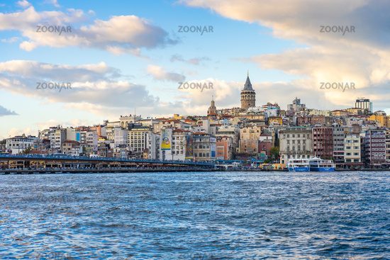 View of Galata Tower and Istanbul skyline in Istanbul, Turkey
