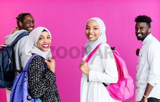 portrait of university students group