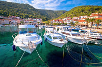 Korcula Idyllic coastal village of Racisce on Korcula island waterfront view