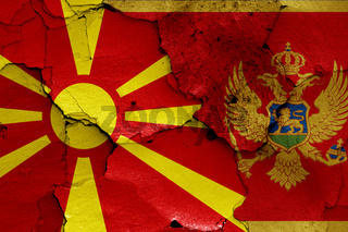 flags of North Macedonia and Montenegro painted on cracked wall