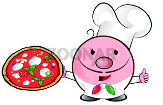 pizza chef mascot cartoon