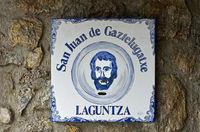 John the Baptist, ceramic tile at the church on the islet of San Juan de Gaztelugatxe, Bakio, Spain