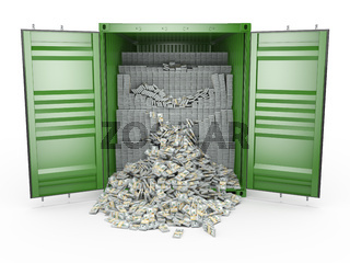3d rendering packs of US dollars