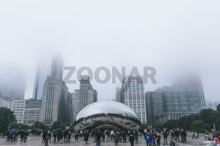 Chicago, USA - November 5, 2017: Fog Settling over Millenium Park Cloud Gate Monument Cloudy Day