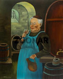 Ein Franziskaner trinkt im Keller ein Glas Wein