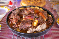 Traditional croatian meat and vegetables dish peka