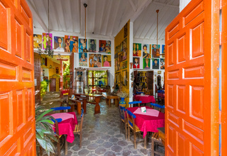 entrance of a typical historic restaurant in the city of Santa Fe of Antioquia Colombia