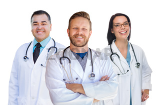 Group Of Mixed Race Male and Female Doctors of Nurses Isolated On White Background